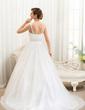 Corte de baile Escote en V Cola corte Tul Vestido de novia con Bordado Los appliques Encaje Lentejuelas (002054361)
