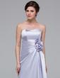 Sheath/Column Sweetheart Floor-Length Charmeuse Bridesmaid Dress With Ruffle Flower(s) (007037228)