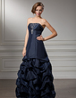 A-Line/Princess Strapless Floor-Length Taffeta Prom Dress With Ruffle Beading (018004847)