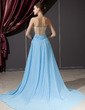 A-Line/Princess Sweetheart Chapel Train Chiffon Tulle Evening Dress With Beading Appliques Lace Split Front (017014249)