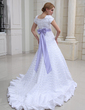 A-Line/Princess Scoop Neck Chapel Train Satin Wedding Dress With Ruffle Sash Beading Bow(s) (002000230)