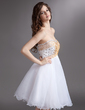 Empire Sweetheart Knee-Length Organza Homecoming Dress With Beading Sequins (022016286)
