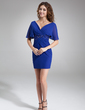 A-Line/Princess V-neck Short/Mini Chiffon Cocktail Dress With Ruffle Beading (016008422)