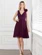 A-Line/Princess V-neck Knee-Length Chiffon Bridesmaid Dress With Ruffle Flower(s) (007005293)