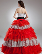 Ball-Gown Strapless Floor-Length Organza Quinceanera Dress With Beading Crystal Brooch Cascading Ruffles (021015954)