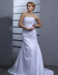 A-Line/Princess Strapless Court Train Taffeta Wedding Dress With Ruffle Beading (002000439)