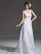 A-Line/Princess Square Neckline Chapel Train Lace Wedding Dress With Beading (002001257)