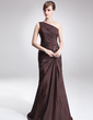A-Line/Princess One-Shoulder Sweep Train Taffeta Mother of the Bride Dress With Ruffle Beading (008006318)