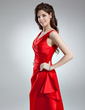 A-Line/Princess V-neck Floor-Length Satin Bridesmaid Dress With Ruffle (007004570)