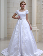 Ball-Gown V-neck Chapel Train Satin Wedding Dress With Embroidered Crystal Brooch (002001632)