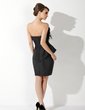 Sheath/Column Scalloped Neck Knee-Length Taffeta Cocktail Dress With Ruffle Feather (016021161)