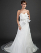 A-Line/Princess Sweetheart Court Train Organza Wedding Dress With Ruffle Beading Flower(s) (002015353)