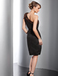 Sheath/Column One-Shoulder Knee-Length Satin Cocktail Dress With Beading Bow(s) (016014754)