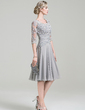 A-Line/Princess Scoop Neck Knee-Length Chiffon Mother of the Bride Dress With Ruffle Appliques Lace (008085301)