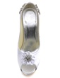 Women's Satin Stiletto Heel Peep Toe Pumps With Rhinestone Satin Flower (047039645)
