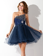 A-Line/Princess One-Shoulder Short/Mini Organza Homecoming Dress With Ruffle Beading (022011222)