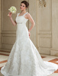 Trumpet/Mermaid Square Neckline Chapel Train Satin Wedding Dress With Beading Appliques Lace (002011417)