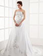 A-Line/Princess Strapless Chapel Train Satin Organza Wedding Dress With Embroidered Beading (002000512)