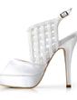 Satyna Szpilki Z Odkrytym Palcem Buty na Platformie Bez Pięty Sandały Buty Ślubne (047011878)
