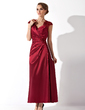 A-Line/Princess V-neck Ankle-Length Charmeuse Mother of the Bride Dress With Ruffle Lace Beading (008013961)
