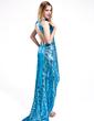 Sheath/Column Scoop Neck Asymmetrical Sequined Prom Dress (018025619)