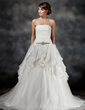 Ball-Gown Strapless Chapel Train Tulle Wedding Dress With Beading Cascading Ruffles (002017428)