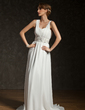 A-Line/Princess V-neck Court Train Chiffon Wedding Dress With Ruffle Beading Sequins (002011404)