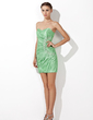 Sheath/Column Sweetheart Short/Mini Taffeta Cocktail Dress With Ruffle Beading (016013111)