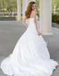 Ball-Gown Sweetheart Chapel Train Taffeta Wedding Dress With Ruffle Feather Flower(s) (002001396)