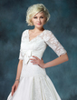 Ball-Gown V-neck Chapel Train Satin Wedding Dress With Ruffle Appliques Lace Bow(s) (002011615)
