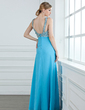A-Line/Princess V-neck Floor-Length Chiffon Prom Dress With Ruffle Beading Sequins (018004840)