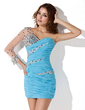 Sheath/Column One-Shoulder Short/Mini Chiffon Homecoming Dress With Ruffle Beading (022013812)