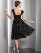 A-Line/Princess V-neck Knee-Length Chiffon Homecoming Dress With Ruffle Bow(s) (022014839)