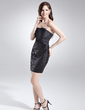 Sheath/Column Strapless Short/Mini Taffeta Sequined Cocktail Dress With Ruffle Feather Flower(s) (016015673)