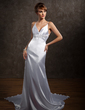 A-Line/Princess V-neck Watteau Train Charmeuse Wedding Dress With Beading Appliques Lace (002012102)
