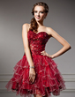 A-Line/Princess Sweetheart Short/Mini Tulle Homecoming Dress With Sequins Cascading Ruffles (022020945)