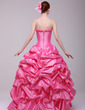Ball-Gown Sweetheart Floor-Length Taffeta Quinceanera Dress With Ruffle Flower(s) (021016170)