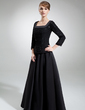 A-Line/Princess Square Neckline Floor-Length Chiffon Satin Mother of the Bride Dress With Ruffle Beading Sequins (008006314)