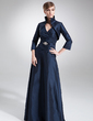 A-Line/Princess V-neck Floor-Length Taffeta Mother of the Bride Dress With Ruffle Beading (008006199)
