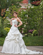 Ball-Gown One-Shoulder Cathedral Train Satin Wedding Dress With Ruffle Flower(s) (002000650)