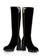 Suede Chunky Heel Knee High Boots With Rhinestone shoes (088054760)