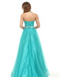A-Line/Princess Halter Floor-Length Tulle Prom Dress With Beading (018016096)