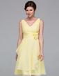 A-Line/Princess V-neck Knee-Length Chiffon Bridesmaid Dress With Flower(s) Cascading Ruffles (007037211)