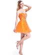 A-Line/Princess Sweetheart Short/Mini Tulle Holiday Dress With Beading Sequins (020037397)