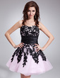 A-Line/Princess Sweetheart Short/Mini Organza Homecoming Dress With Lace Sash (022010030)