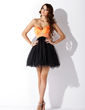 Empire Sweetheart Short/Mini Satin Tulle Homecoming Dress With Ruffle Beading Sequins (022009037)