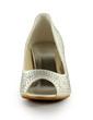 Women's Satin Cone Heel Peep Toe Sandals With Rhinestone (047029181)