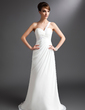 Sheath/Column One-Shoulder Watteau Train Chiffon Wedding Dress With Ruffle Beading (002012679)