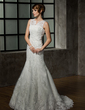 Trumpet/Mermaid V-neck Court Train Tulle Lace Wedding Dress With Beading (002011589)