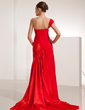 A-Line/Princess One-Shoulder Court Train Chiffon Evening Dress With Ruffle (017014201)